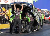 Jul. 26, 2013; Sonoma, CA, USA: NHRA crew members for funny car driver Alexis DeJoria during qualifying for the Sonoma Nationals at Sonoma Raceway. Mandatory Credit: Mark J. Rebilas-
