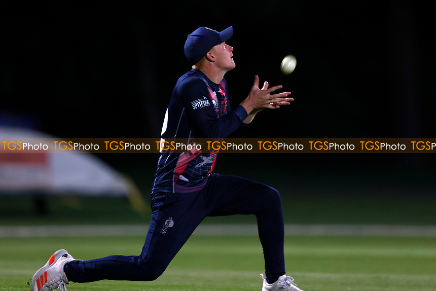 Jordan Cox of Kent holds on to a catch to dismiss Ian Holland during Kent Spitfires vs Hampshire Hawks, Vitality Blast T20 Cricket at The Spitfire Ground on 9th June 2021