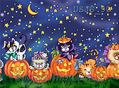 Janet, REALISTIC ANIMALS, Halloween, paintings, Cats on Pumpkins 1(USJS90,#A#)