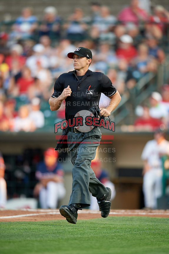 Home plate umpire Reid Gibbs during a game between the Pawtucket Red Sox and the Rochester Red Wings on July 4, 2018 at Frontier Field in Rochester, New York.  Pawtucket defeated Rochester 6-5.  (Mike Janes/Four Seam Images)