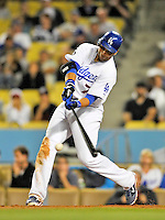 23 July 2011: Los Angeles Dodgers infielder James Loney in action against the Washington Nationals at Dodger Stadium in Los Angeles, California. The Dodgers rallied to defeat the Nationals 7-6 on a Rafael Furcal walk-off, RBI double in the bottom of the 9th inning. Mandatory Credit: Ed Wolfstein Photo