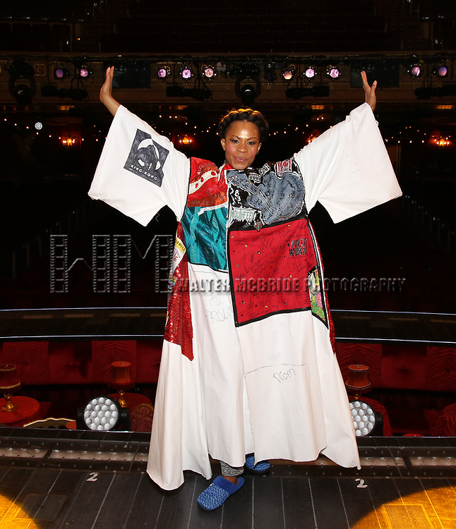 "Bahiyah Hibah during the Broadway Opening Night Legacy Robe Ceremony honoring Bahiyah Hibah for  ""Moulin Rouge! The Musical"" at the Al Hirschfeld Theatre on July 25,2019 in New York City."