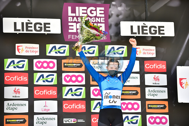 Mariia Novolodskaia (RUS) A.R. Monex Women's Pro Cycling Team on the podium at the end of Liege-Bastogne-Liege Femmes 2021, running 141km from Bastogne to Liege, Belgium. 25th April 2021.  <br /> Picture: A.S.O./Gautier Demouveaux | Cyclefile<br /> <br /> All photos usage must carry mandatory copyright credit (© Cyclefile | A.S.O./Gautier Demouveaux)