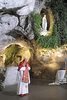 Pope Benedict XVI prays at the Grotto of the Apparitions, also called Grotto of Massabielle,  in the Sanctuary of Lourdes, southwestern France. Sept. 13, 2008,