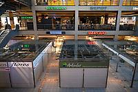 GERMANY, Hamburg, Ottensen, Corona Virus, COVID-19 , closed market hall and shops to avoid infection / geschlossene Läden im Einkaufszentrum Mercado zur Vermeidung von Infektionen durch das Corona Virus