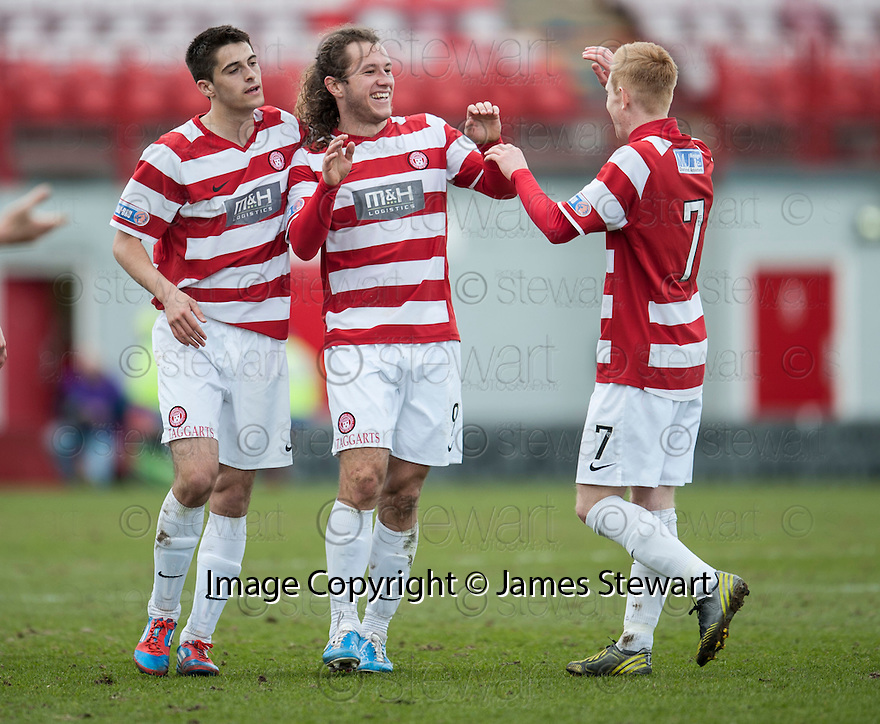 Accies Stevie May (9) celebrates after he scores their first goal.