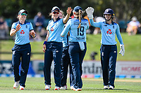 23rd February 2021, Christchurch, New Zealand;  England celebrates the  wicket of Amelia Kerr of New Zealand during the 1st ODI Cricket match, New Zealand versus England, Hagley Oval, Christchurch, New Zealand
