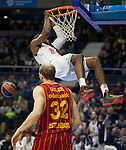 Real Madrid´s Marcus Slaughter and Galatasaray´s Guler during 2014-15 Euroleague Basketball match between Real Madrid and Galatasaray at Palacio de los Deportes stadium in Madrid, Spain. January 08, 2015. (ALTERPHOTOS/Luis Fernandez)