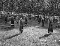 """""""Pioneer Cemetery"""" <br /> Dawson City, Yukon Territory, Canada <br /> <br /> The Yukon Order of Pioneers was founded in 1894 with the Motto, """"Do unto others as you would be done by"""" to substitute for the lack of laws in the Yukon Valley at that time. This black and white photo shows graves at the pioneer's Eighth Avenue cemetery in Dawson City."""