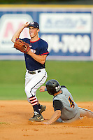 Kyle Brandenburg #5 (High Point) of the High Point-Thomasville HiToms turns a double play as Ridge Gonsoulin #4 (LSU Shreveport) of the Wilson Tobs slides into second base at Finch Field on June 17, 2013 in Thomasville, North Carolina.  The Tobs defeated the HiToms 3-2 in 11 innings.  Brian Westerholt/Four Seam Images