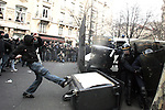 "©REMI OCHLIK/IP3; PARIS, FRANCE LE 17/03/06 - HEURTS ENTRE CRS ET ETUDIANTS ANTI CPE A LA FIN DE LA MANIFESTATION DE JEUDI - ....Fighting between anti riots police and french students around the universite la sorbonne in paris..The contrat premiere embauche (CPE), translated first employment contract, was a new form of employment contract pushed in spring 2006 in France by Prime Minister Dominique de Villepin. This employment contract, available solely to employees under 26, would have made it easier for the employer to fire employees by removing the need to provide reasons for dismissal for an initial ""trial period"" of two years, in exchange for some financial guarantees for employees. ....The law has met heavy resistance from students, trade unions, and left-wing activists, sparking protests in February and March 2006 (and continuing into April) with hundreds of thousands of participants in over 180 cities and towns across France"