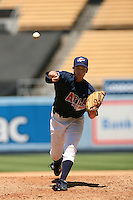 August 9 2008: Scott Griggs participates in the Aflac All American baseball game for incoming high school seniors at Dodger Stadium in Los Angeles,CA.  Photo by Larry Goren/Four Seam Images