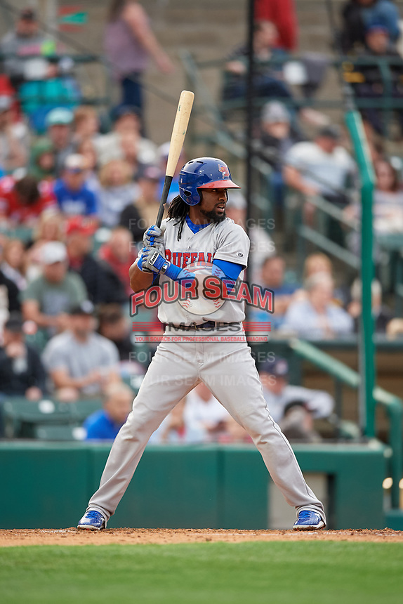 Buffalo Bisons Alen Hanson (31) at bat during an International League game against the Rochester Red Wings on May 31, 2019 at Frontier Field in Rochester, New York.  Rochester defeated Buffalo 5-4 in ten innings.  (Mike Janes/Four Seam Images)