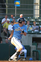 Myrtle Beach Pelicans outfielder Jared Hoying #32 at bat during the first game of a doubleheader against the Carolina Mudcats at Tickerreturn.com Field at Pelicans Ballpark on May 10, 2012 in Myrtle Beach, South Carolina. Myrtle Beach defeated Carolina by the score of 2-1. (Robert Gurganus/Four Seam Images)
