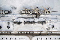 An aerial view of the snow covered Dar Pomorza sailing ship which currently serves as the museum on the main waterfront in Gdynia.