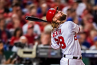 6 October 2017: Washington Nationals outfielder Jayson Werth in action during the first game of the NLDS against the Chicago Cubs at Nationals Park in Washington, DC. The Cubs shut out the Nationals 3-0 to take a 1-0 lead in their best of five Postseason series. Mandatory Credit: Ed Wolfstein Photo *** RAW (NEF) Image File Available ***