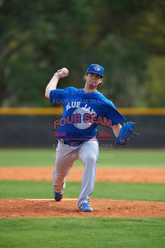 Toronto Blue Jays pitcher Maverik Buffo (65) during an exhibition game against the Canada Junior National Team on March 8, 2020 at Baseball City in St. Petersburg, Florida.  (Mike Janes/Four Seam Images)