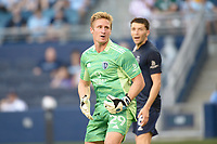 KANSAS CITY, KS - JUNE 26: Tim Melia #29 Sporting KC watches a shot go wide during a game between Los Angeles FC and Sporting Kansas City at Children's Mercy Park on June 26, 2021 in Kansas City, Kansas.