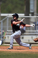 Miami Marlins Austin Dean (3) during a minor league spring training game against the New York Mets on March 30, 2015 at the Roger Dean Complex in Jupiter, Florida.  (Mike Janes/Four Seam Images)