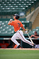 Baltimore Orioles T.J. Nichting (71) follows through on a swing during a Florida Instructional League game against the Boston Red Sox on October 8, 2018 at the Ed Smith Stadium in Sarasota, Florida.  (Mike Janes/Four Seam Images)