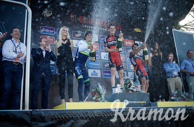 podium champaign party <br /> 1/ Ben Hermans (BEL/BMC)<br /> 2/ Michael Matthews (AUS/Orica-GreenEDGE)<br /> 3/ Philippe Gilbert (BEL/BMC)<br /> <br /> 55th Brabantse Pijl 2015
