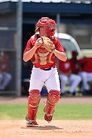 GCL Nationals catcher Jakson Reetz (14) during a game against the GCL Marlins on June 28, 2014 at the Carl Barger Training Complex in Viera, Florida.  GCL Nationals defeated the GCL Marlins 5-0.  (Mike Janes/Four Seam Images)