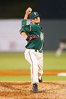 Relief pitcher Rob Rasmussen #27 of the Greensboro Grasshoppers in action against the Kannapolis Intimidators at Fieldcrest Cannon Stadium August 2, 2010, in Kannapolis, North Carolina.  Photo by Brian Westerholt / Four Seam Images