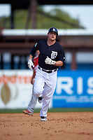 Detroit Tigers third baseman JaCoby Jones (79) runs the bases after hitting a home run during an exhibition game against the Florida Southern Moccasins on February 29, 2016 at Joker Marchant Stadium in Lakeland, Florida.  Detroit defeated Florida Southern 7-2.  (Mike Janes/Four Seam Images)