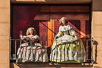 Medieval mannequins, Arte Toledano.Paseo Prado, Madrid, Spain