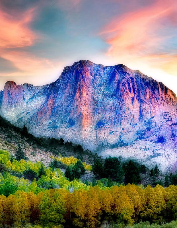 Carson Peak and fall colred aspens. California