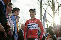 race winner Kenny Dehaes (BEL) onto the podium<br /> <br /> Nokere Koerse 2014