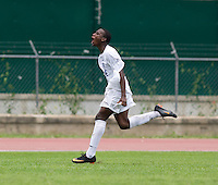 Bryan Rochez (4) of Honduras celebrates his goal during the group stage of the CONCACAF Men's Under 17 Championship at Catherine Hall Stadium in Montego Bay, Jamaica. Honduras defeated Barbados, 2-1.