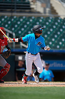 Miami Marlins Victor Mesa Jr. (10) at bat during an Instructional League game against the Washington Nationals on September 25, 2019 at Roger Dean Chevrolet Stadium in Jupiter, Florida.  (Mike Janes/Four Seam Images)