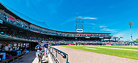 31 May 2018: View of the Northeast Delta Dental Stadium where the New Hampshire Fisher Cats hosted the Portland Sea Dogs at in Manchester, NH. The Sea Dogs defeated the Fisher Cats 12-9 in extra innings. Mandatory Credit: Ed Wolfstein Photo *** RAW (NEF) Image File Available ***