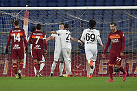 Andrej Galabinov of Spezia celebrates after scoring on penalty the 0-1 goal  during the Tim Cup final eight football match between AS Roma and AC Spezia at Olimpico stadium in Roma (Italy), Jannuary 19th, 2021. Photo Antonietta Baldassarre / Insidefoto
