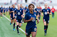 ORLANDO, FL - FEBRUARY 21: Crystal Dunn #19 of the USWNT runs off the field before a game between Brazil and USWNT at Exploria Stadium on February 21, 2021 in Orlando, Florida.