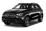 2020 Mercedes Benz GLE AMG-Line 5 Door SUV angular front stock photos of front three quarter view