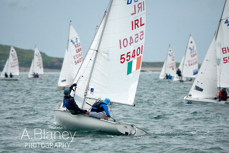 Port tack assessment – Adam McGrady & Allister O'Sullivan (GBSC, 7th overall) weighing their chances Photo: Annraoi Blaney