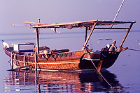 Kuwait November 1967.  Dhow and Crew Man, Late Afternoon, Sief Waterfront.