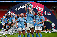 1st November 2020; Wembley Stadium, London, England; Womens FA Cup Final Football, Everton Womens versus Manchester City Womens; Georgia Stanway, Sam Mewis and Janine Beckie of Manchester City Women pose with the Womens FA Cup Final Trophy