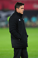Head Coach Allen Clarke of Ospreys during the pre match warm up for the Guinness Pro14 Round 16 match between Ospreys and Munster Rugby at the Liberty Stadium in Swansea, Wales, UK. Friday 22 February 2019