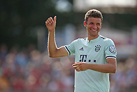 18.08.2018, Football DFB Pokal 2018/2019, 1. round, SV Drochtersen Assel - FC Bayern Muenchen, Kehdinger stadium Drochtersen. celebration  Thomas Mueller (Bayern Muenchen)<br /><br /><br />***DFB rules prohibit use in MMS Services via handheld devices until two hours after a match and any usage on internet or online media simulating video foodaye during the match.*** *** Local Caption *** © pixathlon<br /> <br /> Contact: +49-40-22 63 02 60 , info@pixathlon.de