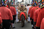 Hunting the Earl of Rone. Combe Martin Devon England. . 2011. The procession through the village.