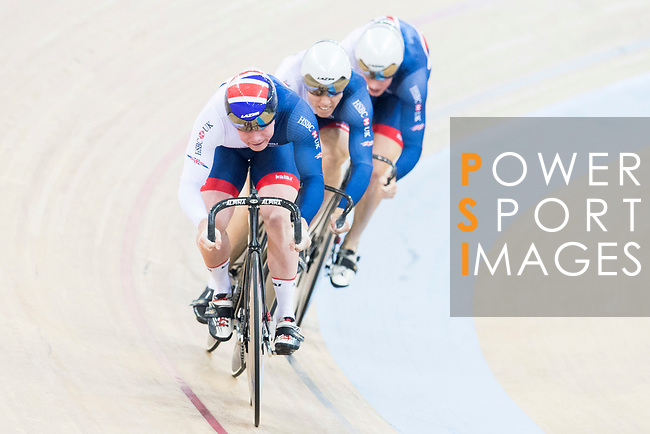 The team of Great Britain with Jack Carlin, Ryan Owens and Joseph Truman compete in Men's Team Sprint - Qualifying match as part of the 2017 UCI Track Cycling World Championships on 12 April 2017, in Hong Kong Velodrome, Hong Kong, China. Photo by Victor Fraile / Power Sport Images