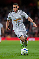 LONDON, ENGLAND - MAY 11 Jefferson Montero of Swansea City  in action during  to the Premier League match between Arsenal and Swansea City at Emirates Stadium on May 11, 2015 in London, England.  (Photo by Athena Pictures/Getty Images)