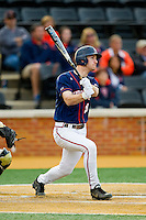 Mike Papi (38) of the Virginia Cavaliers hits a grand slam home run in the top of the 9th inning against the Wake Forest Demon Deacons at Wake Forest Baseball Park on April 6, 2013 in Winston-Salem, North Carolina.  The Cavaliers defeated the Demon Deacons 7-6.  (Brian Westerholt/Four Seam Images)