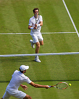 England, London, Juli 06, 2015, Tennis, Wimbledon, Andy Murray (GBR) hits a passing shot along Ivo Karlovic (CRO)<br /> Photo: Tennisimages/Henk Koster