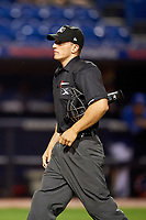 Home plate umpire Brandon Mooney during the second game of a doubleheader between the Charlotte Stone Crabs and the St. Lucie Mets on April 24, 2018 at First Data Field in Port St. Lucie, Florida.  St. Lucie defeated Charlotte 6-5.  (Mike Janes/Four Seam Images)