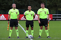 Assistant referee Olivier Jacques, referee Mehdi Sayoud and assistant referee Romain Deltree in the line up before a female soccer game between Standard Femina de Liege and White Star Woluwe on the fifth matchday of the 2021 - 2022 season of Belgian Scooore Womens Super League , saturday 2 nd of October 2021  in Angleur , Belgium . PHOTO SPORTPIX   SEVIL OKTEM
