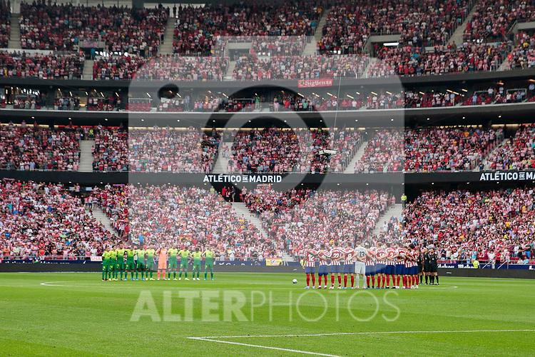 Atletico de Madrid and SD Eibar's team photo during La Liga match between Atletico de Madrid and SD Eibar at Wanda Metropolitano Stadium in Madrid, Spain.September 01, 2019. (ALTERPHOTOS/A. Perez Meca)